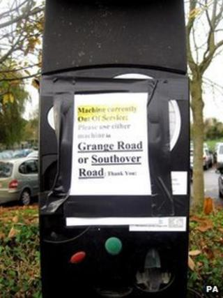 A parking meter in Southover High Street, Lewes