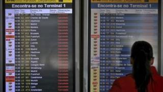 Departure board at Lisbon airport