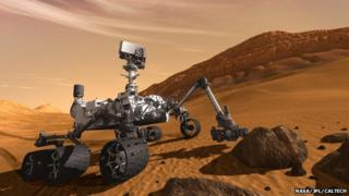 multi-wheeled robot on surface of mars - artist's impression