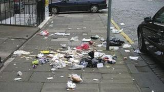 Bin bags attacked by seagulls in World Heritage Site