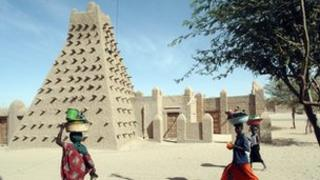 The Djingareyber Mosque in Timbuktu, a famous learning centre of Mali built in 1327
