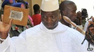 The Gambia's President Yahya Jammeh at a polling station in Banjul, The Gambia, on Thursday 24 November 2011