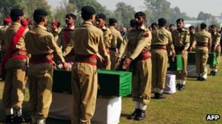 Funerals of 24 soldiers in Peshawar, Pakistan, on 27 November 2011