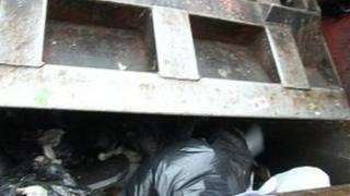 Bin bags in refuse lorry