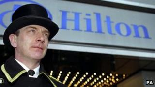 Hilton and doorman