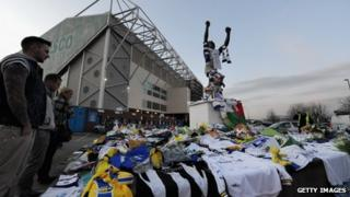 Tributes left at Leeds, one of Gary Speed's former clubs
