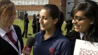 School Reporters from Handsworth Wood Girls' School practice their interview technique