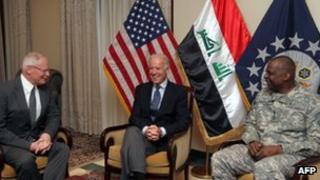 Joe Biden with US Ambassador James Jeffrey (l) and General Lloyd Austin 29 November 2011