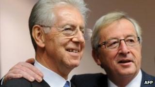 Mario Monti and Jean-Claude Juncker
