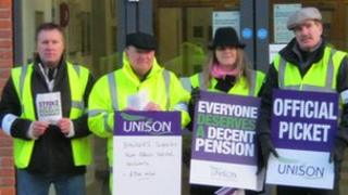 Picket line outside West Suffolk House, Bury St Edmunds