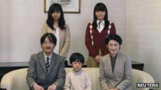 Prince Akishino and his wife Princess Kiko pose with their children Prince Hisahito, Princess Mako and Princess Kako on 29 November 2011