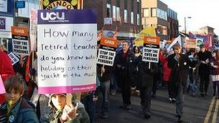 Public sector worker strike march in Swindon
