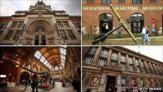 V&A, Merseyside Maritime Museum, Science Museum, Natural History Museum