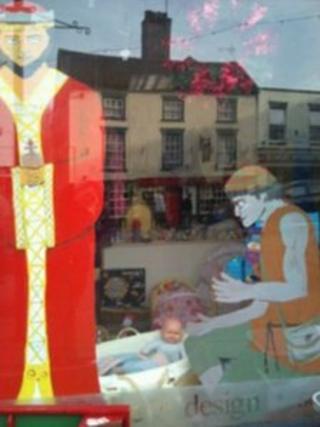 Nativity window scene