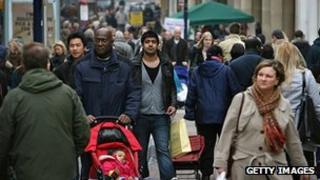 People shopping in a London street