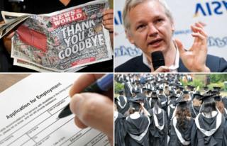 Clockwork from top left - final issue of the News of the World, Wikileaks founder Julian Assange, university graduates and a job application form