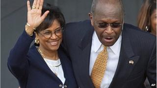 Gloria Cain and Herman Cain as he announces his presidential run 21 May 2011