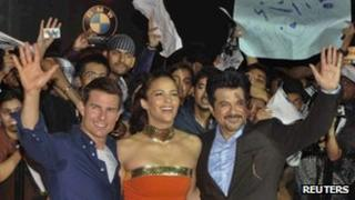 Tom Cruise, Paula Patton and Anil Kapoor at the screening of Mission Impossible: Ghost Protocol in Mumbai, India.