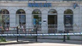 Barclays Bank in Machynlleth after the robbery