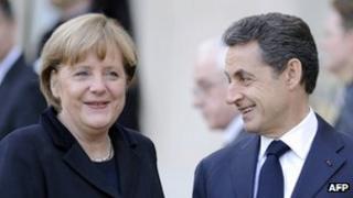 Nicolas Sarkozy and Angela Merkel