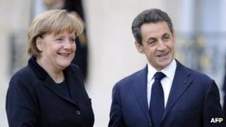 Angela Merkel and Nicolas Sarkozy at Paris meeting - 5 December