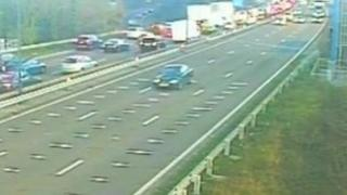 Queues build up on the westbound carriageway on the M4