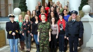 Gareth Malone with the military wives choir, composer Paul Mealor, and Chris Evans