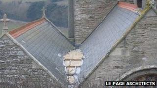 Church roof where lead has been stolen (pick: Le Page Architects)