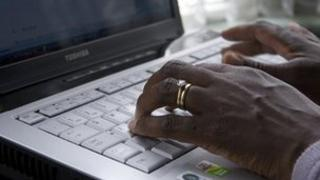 A person using laptop