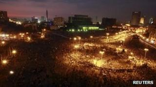 A general view shows protesters of Tahrir Square in Cairo 21 November 2011