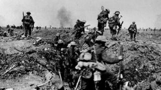 British troops leaving a trench as they go forward in support of an attack on the village of Morval during the Battle of the Somme