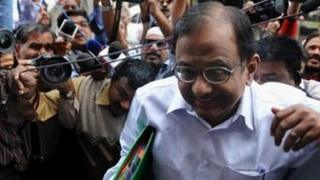 Indian home minister P Chidambaram at Parliament in Delhi on 22 November 2011