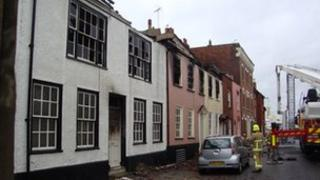 Houses in West Street Harwich destroyed by fire