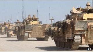 Line of British armoured vehicles in Helmand Province, Afghanistan