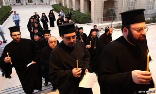 Syrian Christian priests in Damascus