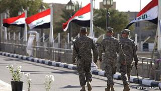 US soldiers leave Al Faw Palace at Camp Victory, Baghdad