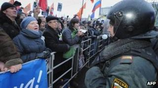 Protesters face police on Bolotnaya Square, Moscow, 10 December