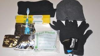 The contents of a Vinnie Pack, which is intended to help homeless people