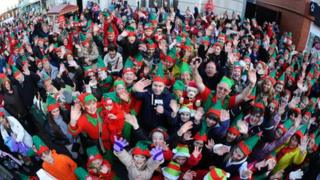 People dressed as elves in Bridgend