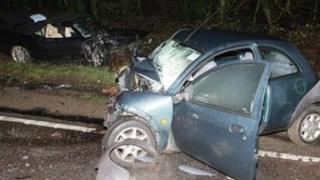 Crashed vehicles on the A27 at Castle Goring