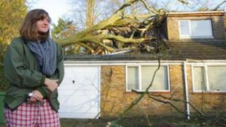 Eleanor outside her home after a tree crashed through the roof of her father's bedroom