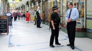 PC on patrol in Norwich's Royal Arcade