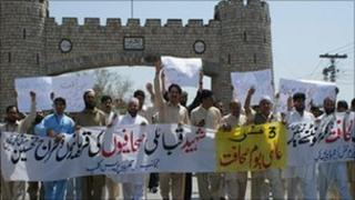 Tribal journalists during a protest in Khyber tribal region