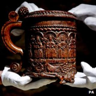 The Glastonbury Grace Cup, a 16th Century carved oak tankard