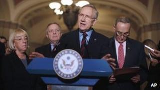 Senate Majority Leader Harry Reid discusses extension of the payroll tax cut 14 December 2011