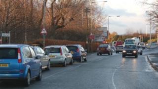 Traffic leading from Plas Coch, Wrexham