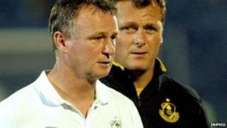 Michael O'Neill (left) with his assistant manager at Shamrock Rovers Jim Magilton