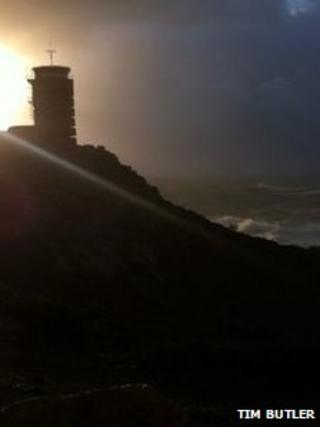 Tim Butler photo of the storm brewing at Corbiere
