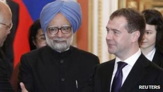 Manmohan Singh with Dmitry Medvedev in Moscow, 16 Dec