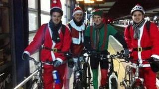 Charity bike ride santas and elf